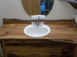 Custom redwood, Interior Furnishings, Custom Vanity, Vanities, Wood Tops, Wood Counter, Wood Vanity, bathroom, Interior Design