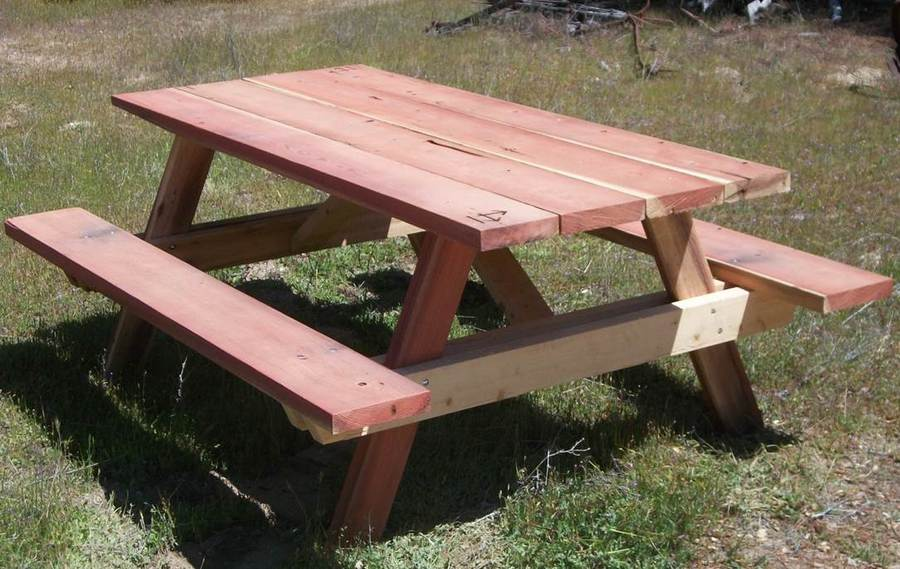 Redwood And Cedar Picnic Table. Redwood Top And Benches And With A Cedar  Framework